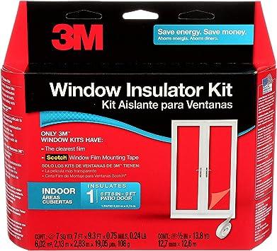 3m indoor patio door insulator kit heat or cold insulation for large windows and sliding doors 1 door kit 7 ft x 9 3 ft of film fits 6 ft 8 in x