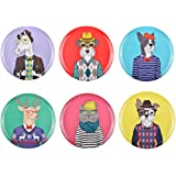 Assiettes Happy animals Set de 6 animaux assortis Multicolore Mélamine La chaise longue 35-2E-100