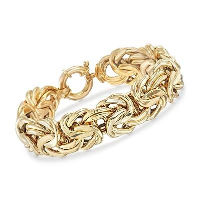 1c4aaaf3ec8024 Amazon.com: Ross-Simons Italian 18kt Yellow Gold Byzantine Bracelet: Jewelry
