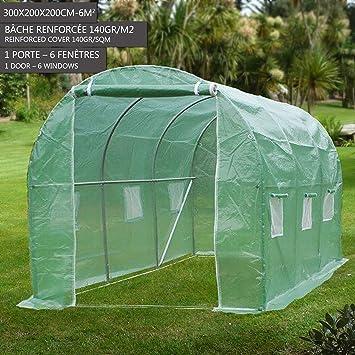 ACHATPRATIQUE Invernadero | Invernadero Arqueado con 6 Respiraderos de Malla y Tapa Transparente| 300 cm x 200 cm x 200cm | Invernadero caseta para Terraza ...