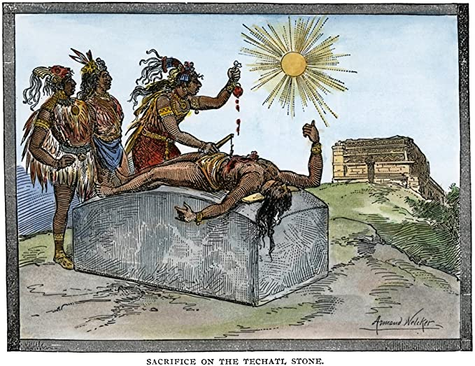 Amazon.com: Aztec Ritual Sacrifice Naztec Priests Performing The Sacrifice  Of A Human Heart To The Sun Engraving 19Th Century Poster Print by (18 x  24): Posters & Prints