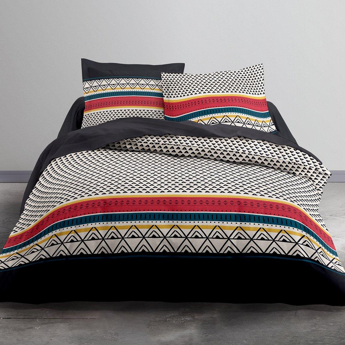 Multicolore Coton 2 Taies doreiller TODAY Etniko Parure de Lit 2 Personnes 220x240 cm