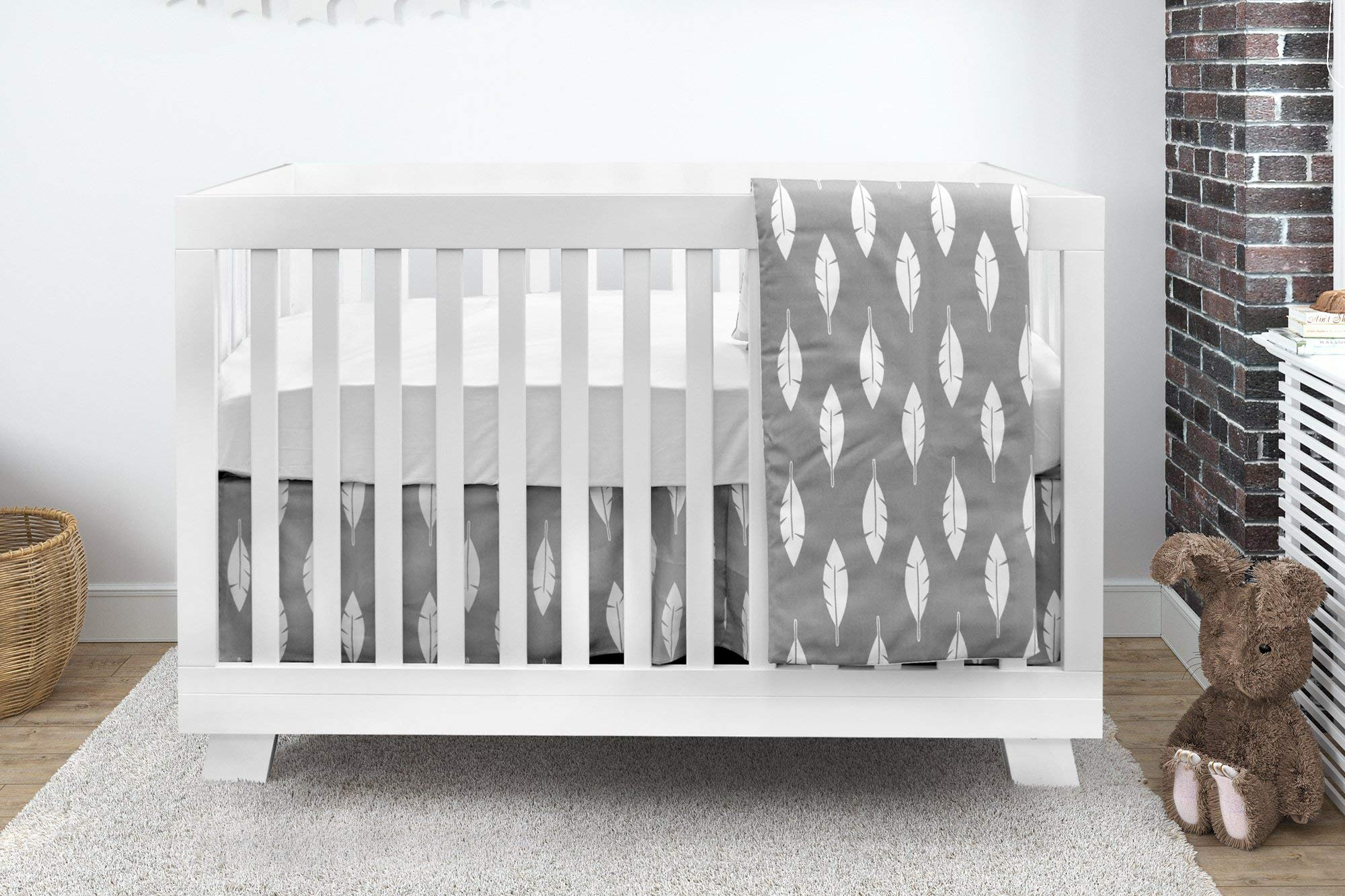 BOOBEYEH & DESIGN Baby Crib Bedding 4 Piece Set, Perfect for Baby Girls and Boys, Includes Gray and White Feather Design, Fitted Sheet, Crib Comforter, Comforter Cover, Skirt. by BOOBEYEH & DESIGN (Image #1)