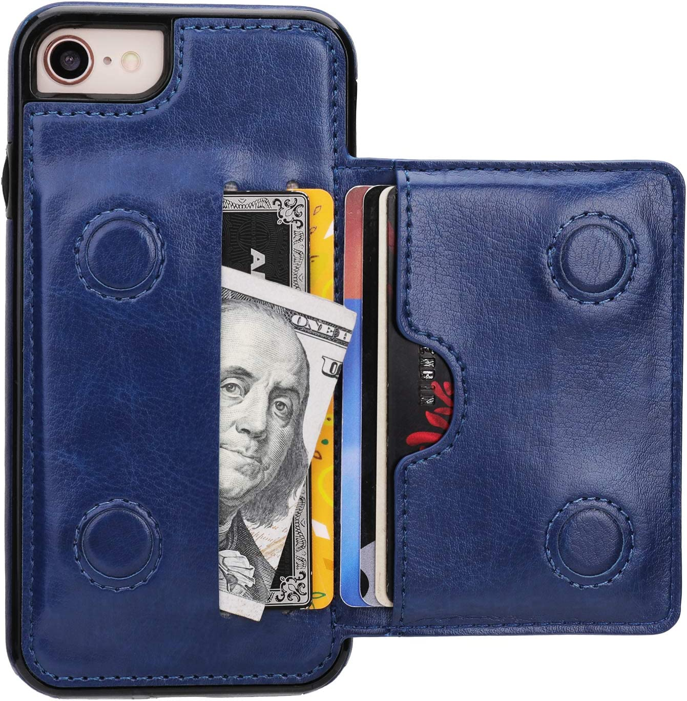 KIHUWEY iPhone 7 Wallet Case iPhone 8 iPhone SE 2020 Wallet Case with Credit Card Holder, Premium Leather Kickstand Durable Shockproof Protective Cover for iPhone 7/8/SE 4.7 Inch(Blue)