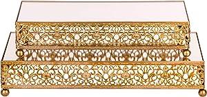 Amalfi Decor Cake Stand Dessert Tray, Rectangle Metal Pedestal Holder, Gold, Set of 2