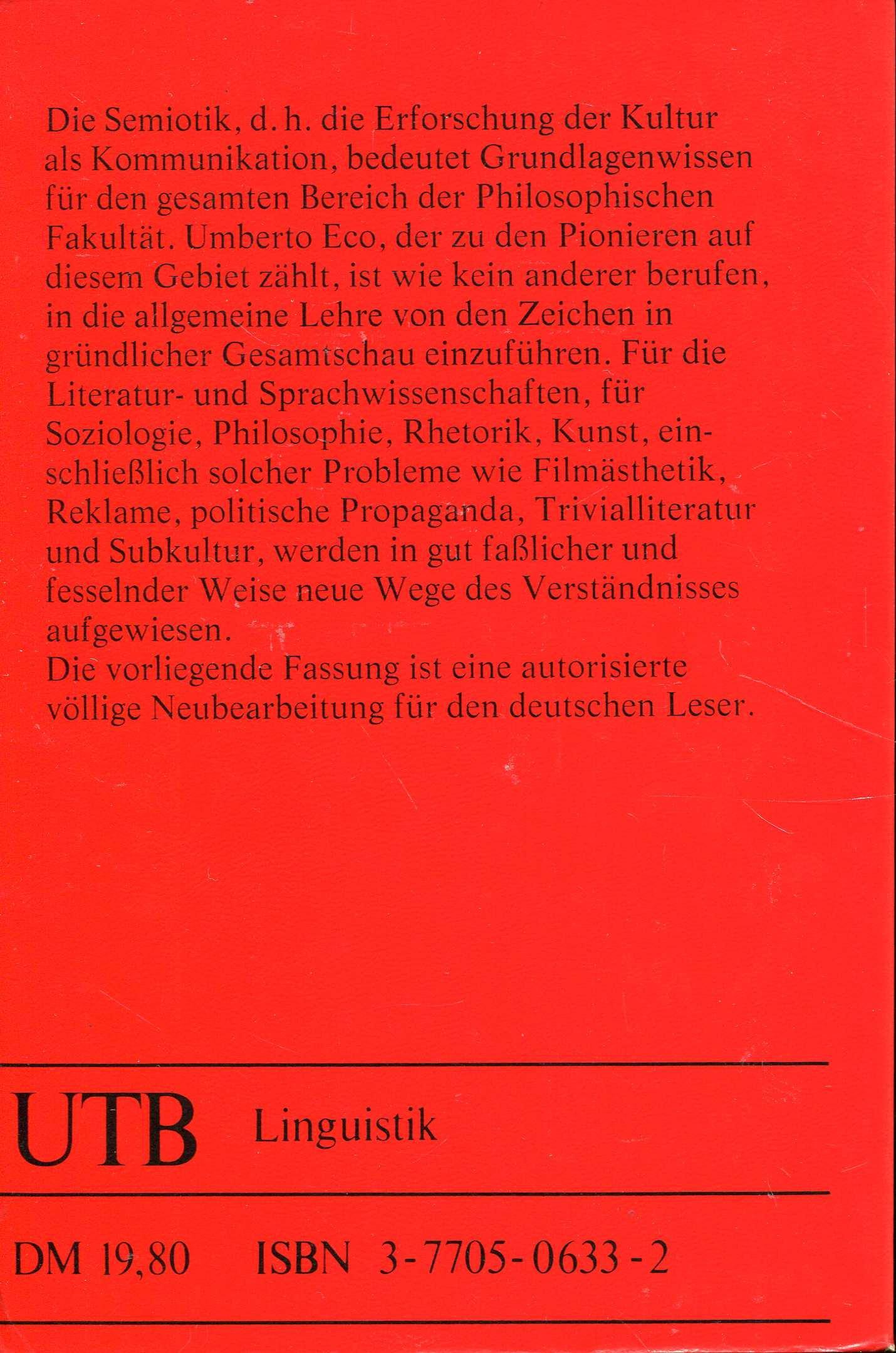 Einführung in die Semiotik: Amazon.de: Umberto Eco, Jürgen Trabant ...