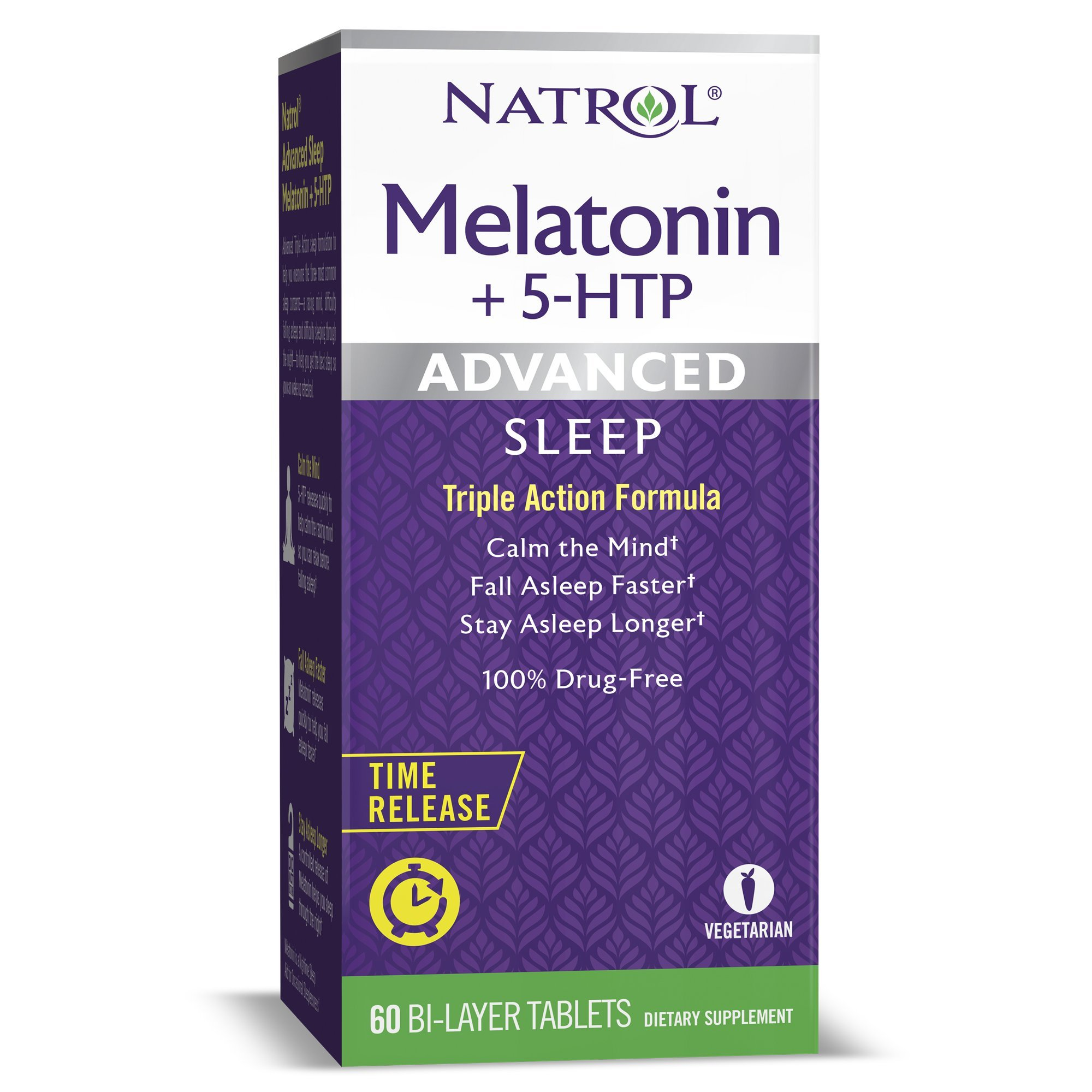 Natrol Melatonin + 5 HTP Advanced Sleep Time Release Bi-Layer Tablets, Triple-