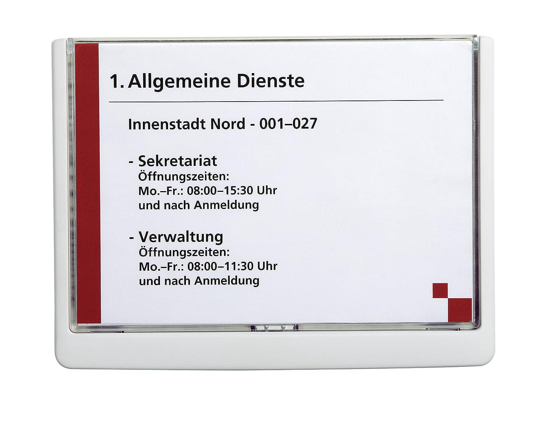 DURABLE 486637 - Click Sign, targa fuori porta in ABS, sportellino apribile con tasto, installazione con viti o biadesivo, 210x148,5 mm, grafite SC-MS-4866-37
