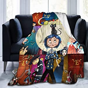 Bestrgi Ultra-Soft Micro Flannel Fleece Blanket 3D Printing Living Room Bedroom Coraline Warm Throw Blanket Home Decor for Bed Couch Chair Sofa Travel for Adults Kids 50