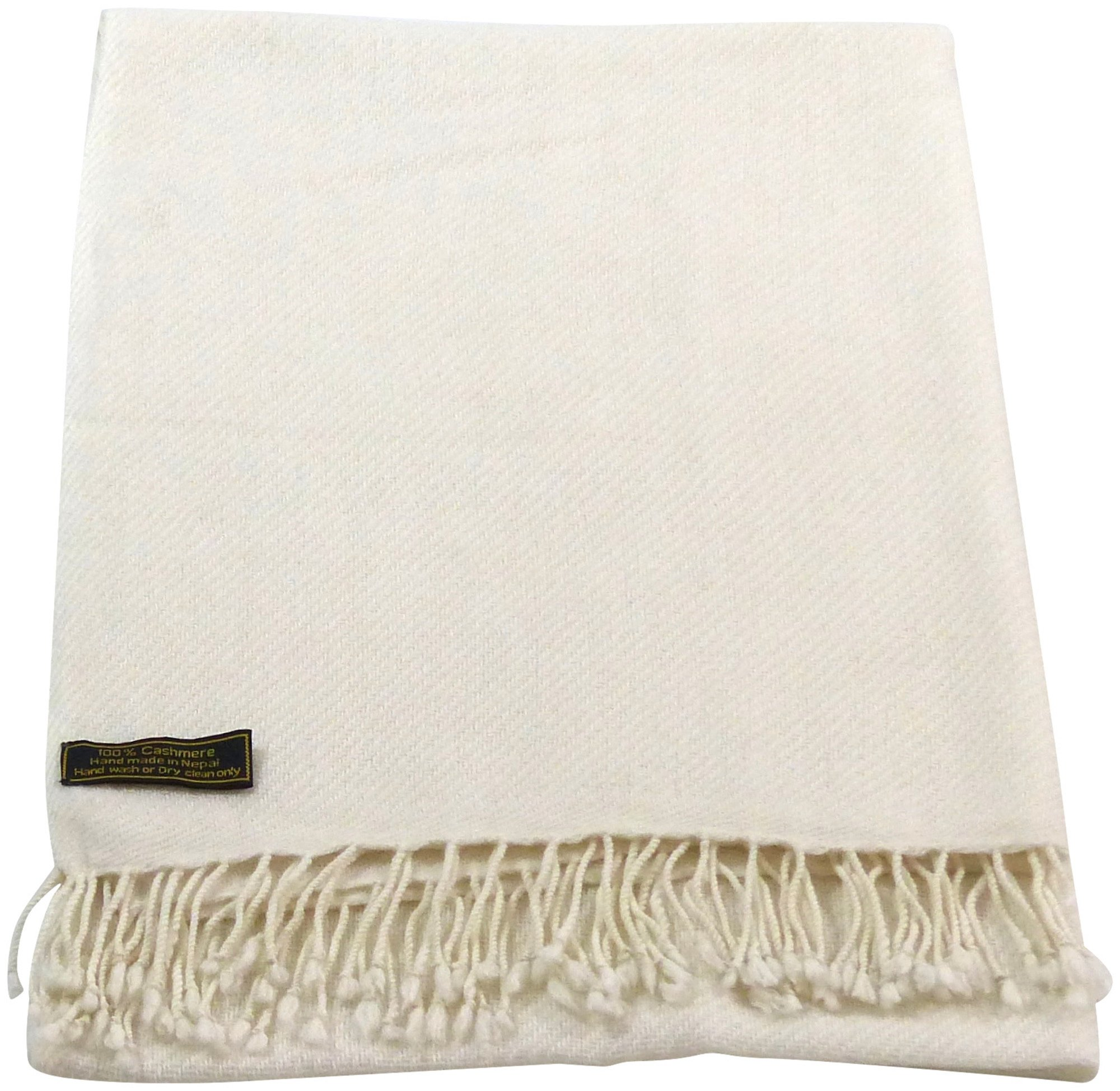 White High Grade 100% Cashmere Shawl Scarf Wrap Hand Made in Nepal NEW