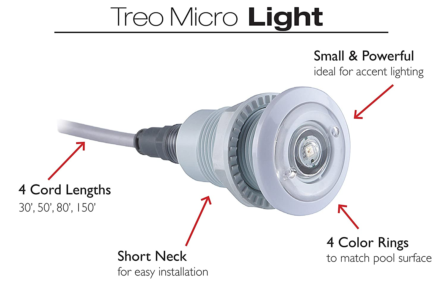 Amazon.com : S.R.Smith FLED-TM-C-80 12V & 2W Treo Micro LED Pool Accent  Light, 80' Cord, Red/Blue/Green : Garden & Outdoor