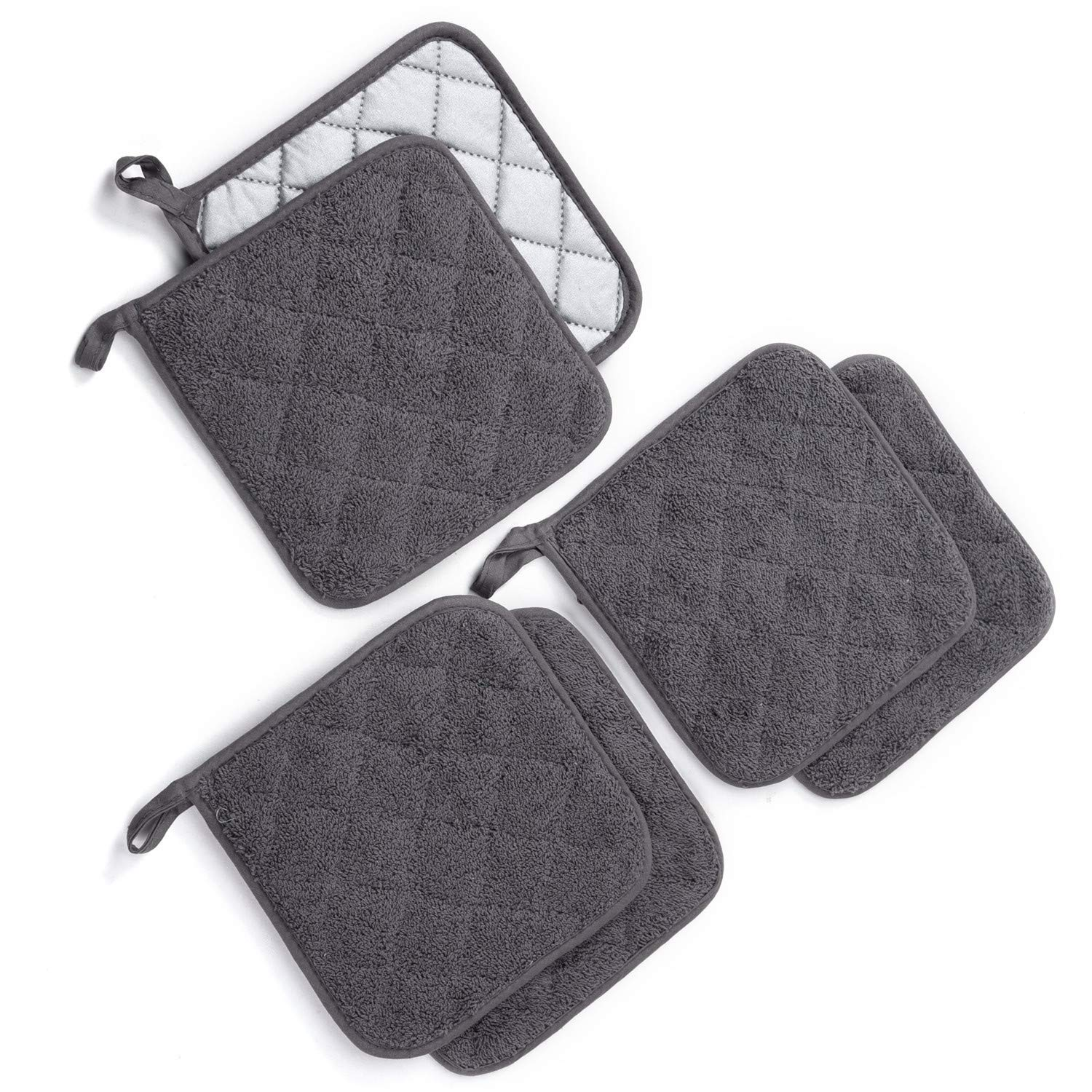 Jennice House Potholders Set, Heat Resistant Hot Pads Mats Coasters Terry Cotton Pot Holders for Cooking and Baking, Set of 6(Gray) by Jennice House