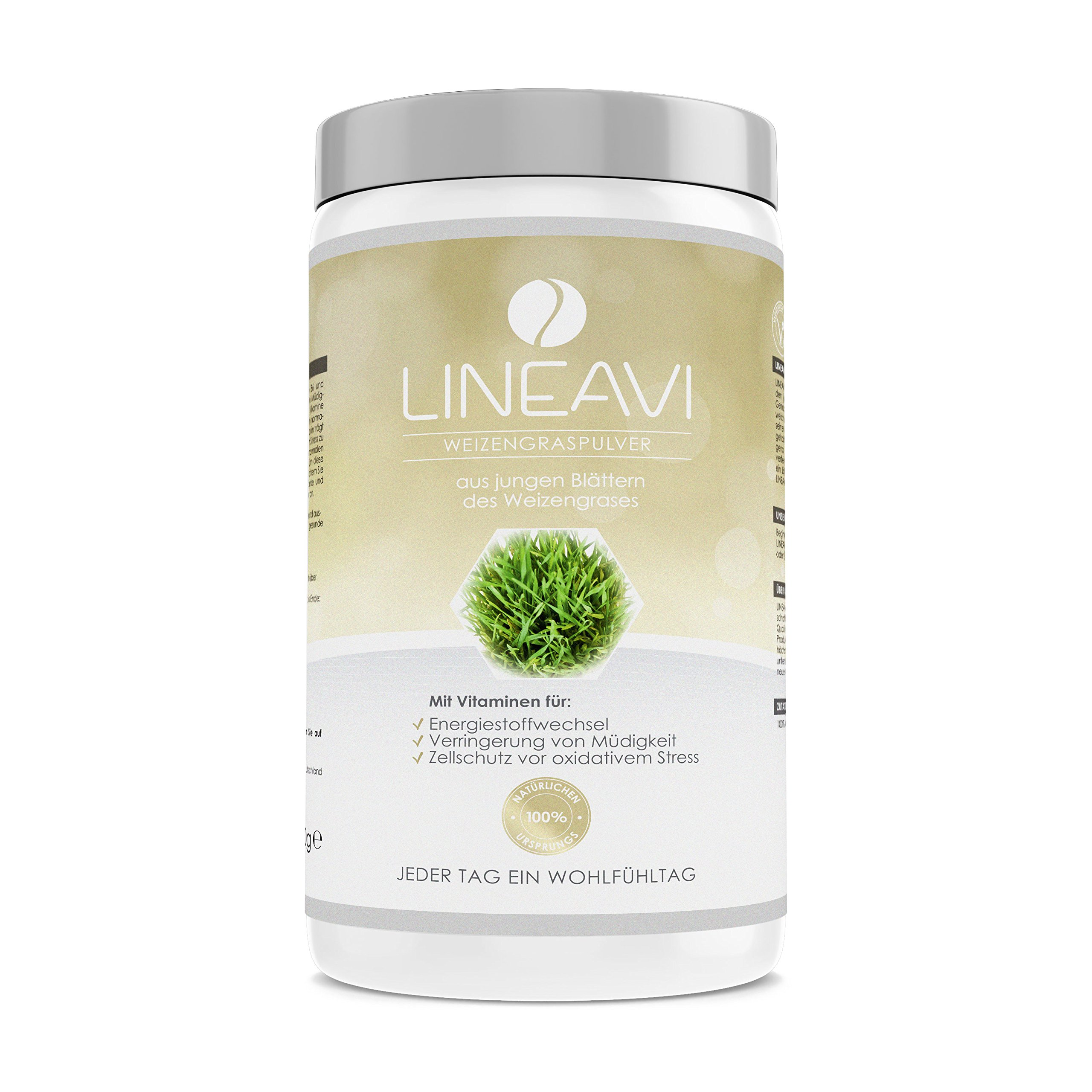 LINEAVI Wheatgrass Powder, Made from The Young Leaves of Wheatgrass, 100% Natural Origin, Ideal for Green Smoothies, Made in Germany, 400g product image
