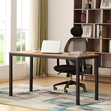 AUXLEY Modern Simple Computer Desk for Home Study, Waterproof and  Anti-Scratch Double Deck Wood and Metal Office Table, 55\'\', Teak