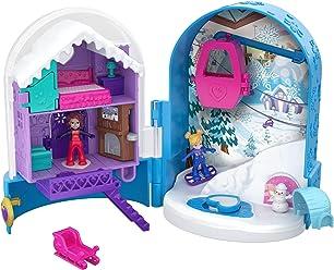 Polly Pocket Coffret Univers Le Chalet Enneigé avec 2 Mini-Figurines et Accessoires, Autocollants et 5 Surprises Cachées, Jouet Enfant, édition 2018, FRY37