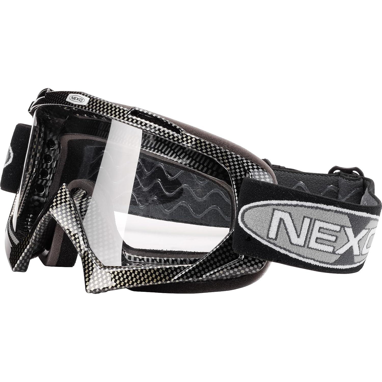 Nexo Schutzbrille, Helmbrille Motorradhelm Profi Brille II Carbon, Unisex, Cross/Offroad, Ganzjährig, Polycarbonat, Einheitsgröße