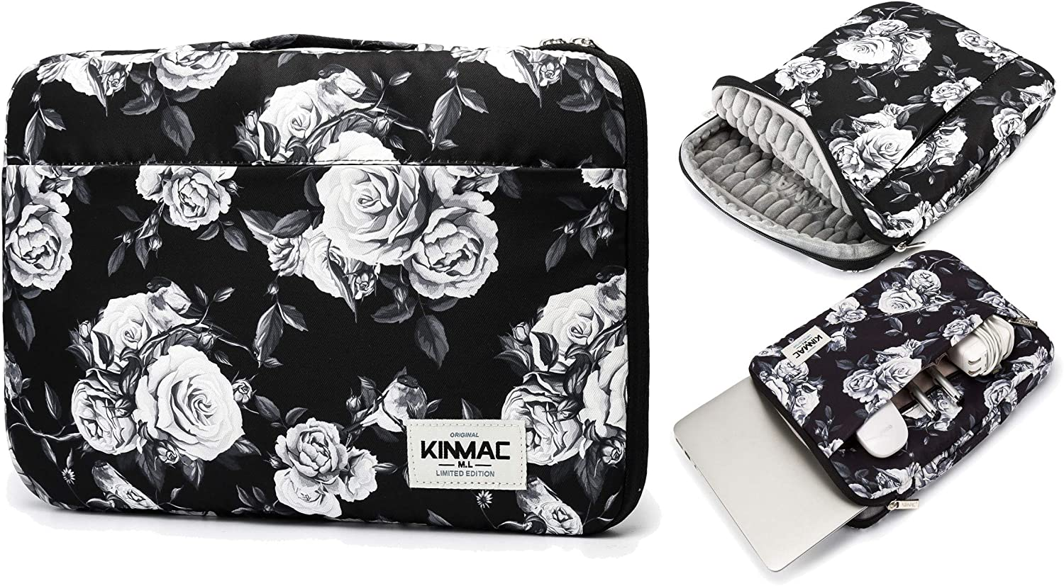 "Kinmac White Rose 360° Protective Water Resistant 12.5 inch-13.3 inch Laptop Case Bag Sleeve with Handle for Surface Pro,MacBook Pro 13"",MacBook 12"",New MacBook Air 13"" Retina and iPad pro 12.9"