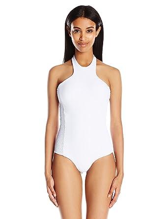 800c848e90f5cd Tori Praver Women's Rosarito High-Neck One-Piece Swimsuit, Cloud, Medium at  Amazon Women's Clothing store:
