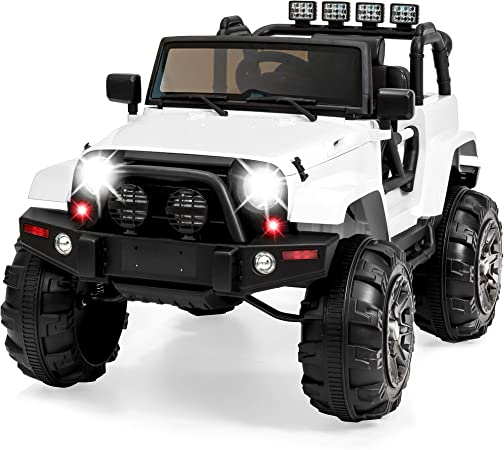 Best Choice Products Kids 12V Ride On Truck, Battery Powered Toy Car w/ Spring Suspension, Remote Control, 3 Speeds, LED Lights, Bluetooth - White