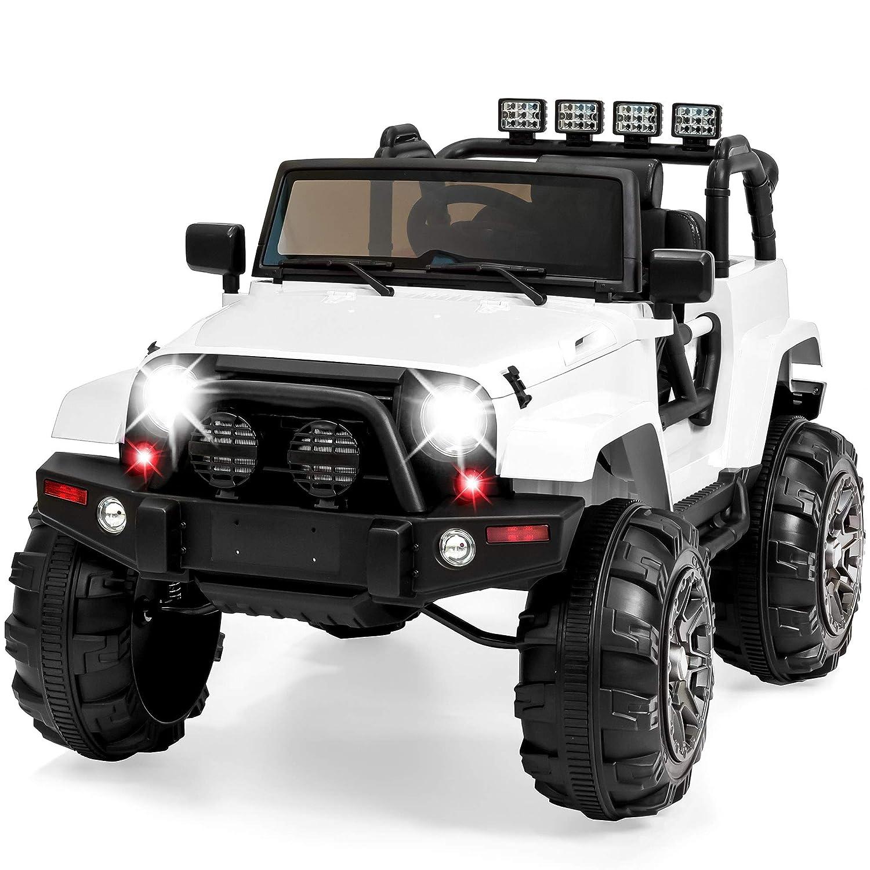 Best Choice Products 12V Kids Ride auf Truck Auto W/ Remote Control, 3 Speeds, Spring Suspension, geführt Lights, Aux - White
