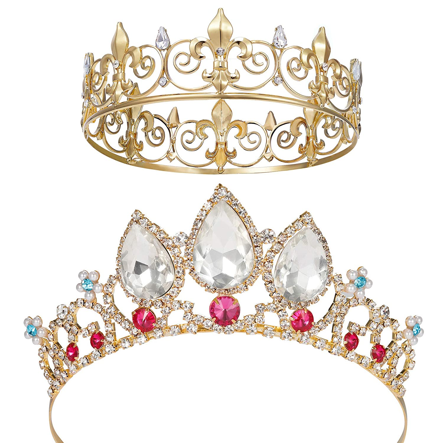 SWEETV Gold Tiaras and Crowns for Men & Girls - Costume Headpiece Set - Metal Tiara Accessories for Wedding Prom Cosplay Party