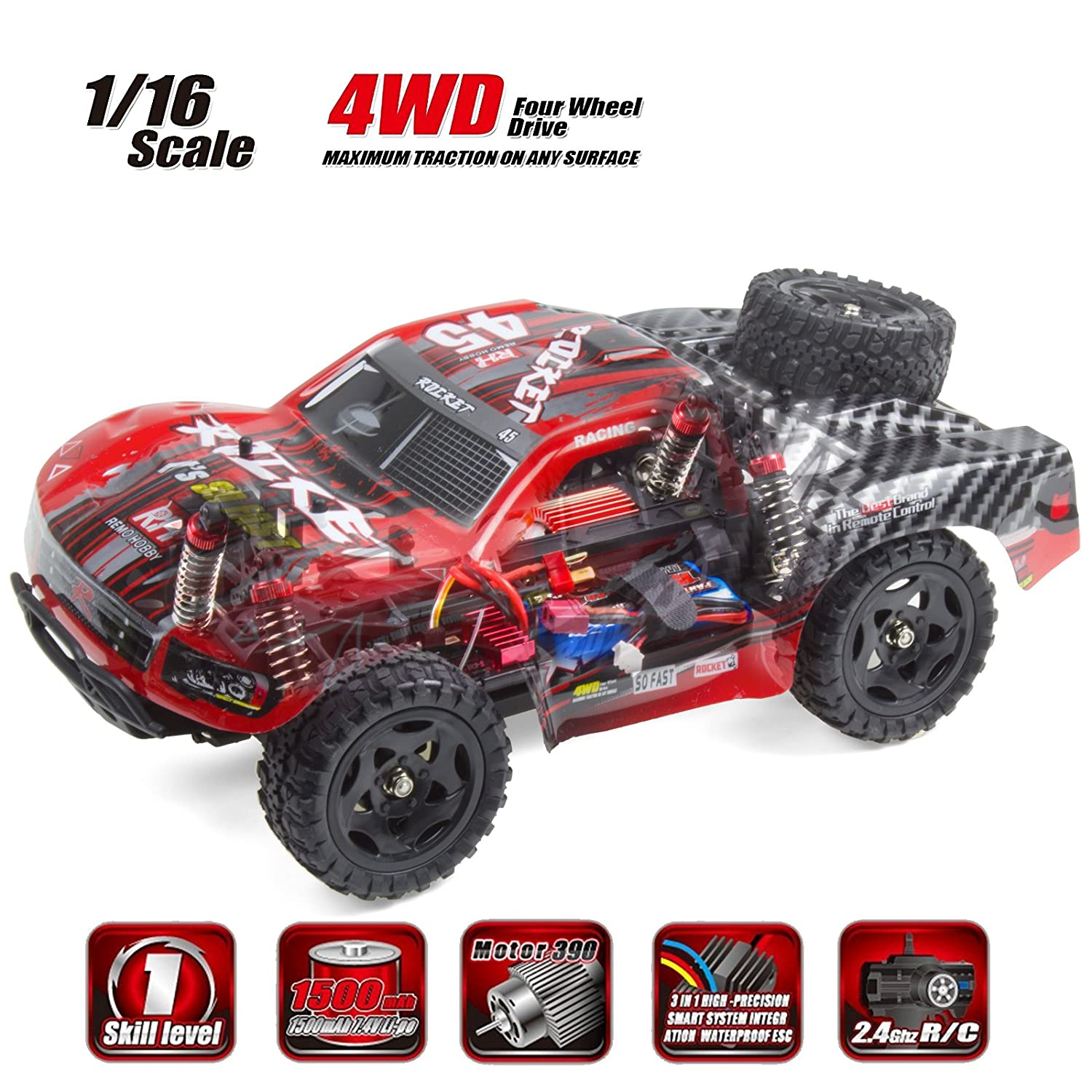 Amazon Cheerwing REMO Rocket RC Truck 1 16 2 4Ghz 4WD Remote Control Car High Speed f road Short Course Truck Red Toys & Games