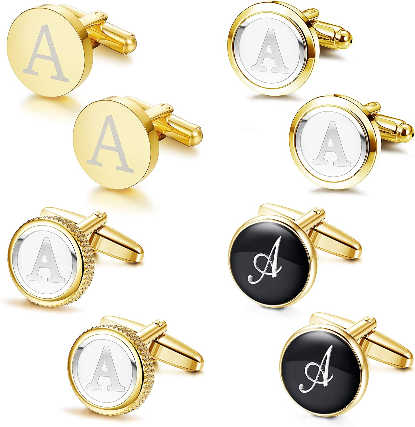 LOLIAS Mens Cufflinks Set Alphabet Letter Cufflinks Formal Business Wedding Shirts Birthday Father's Gifts A-Z