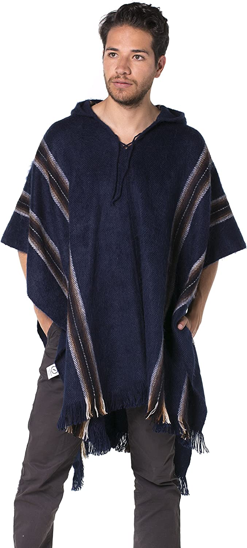 Alpaca Hooded Poncho Gamboa Dark Blue with Stripes and Fringes