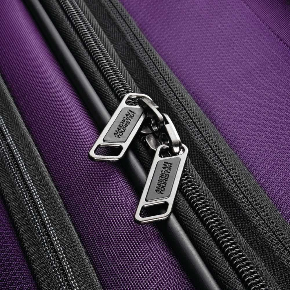 Purple American Tourister Zoom Softside Luggage with Spinner Wheels