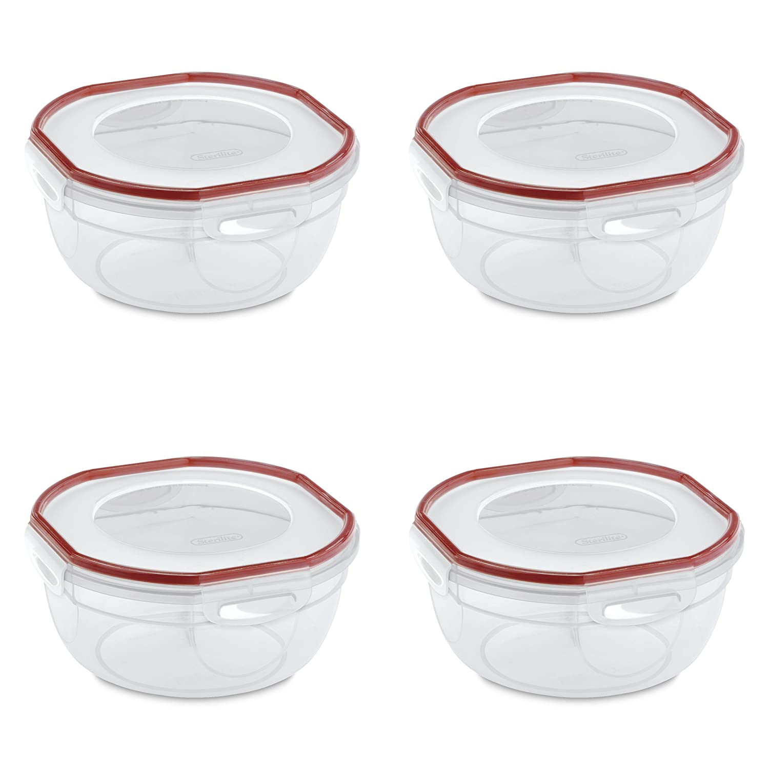 Sterilite 03938604 Ultra-Seal 2.5 Quart Bowl, Clear Lid & Base with Rocket Red Gasket, 4-Pack