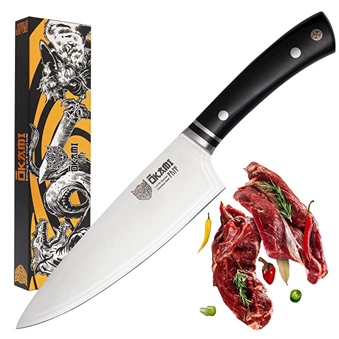 OKAMI Chefs Knife 8 Inch - Asgard Series - Professional German Stainless Steel - Extra Sharp - Full Tang - Mirror Polished - with Edge Guard - Black