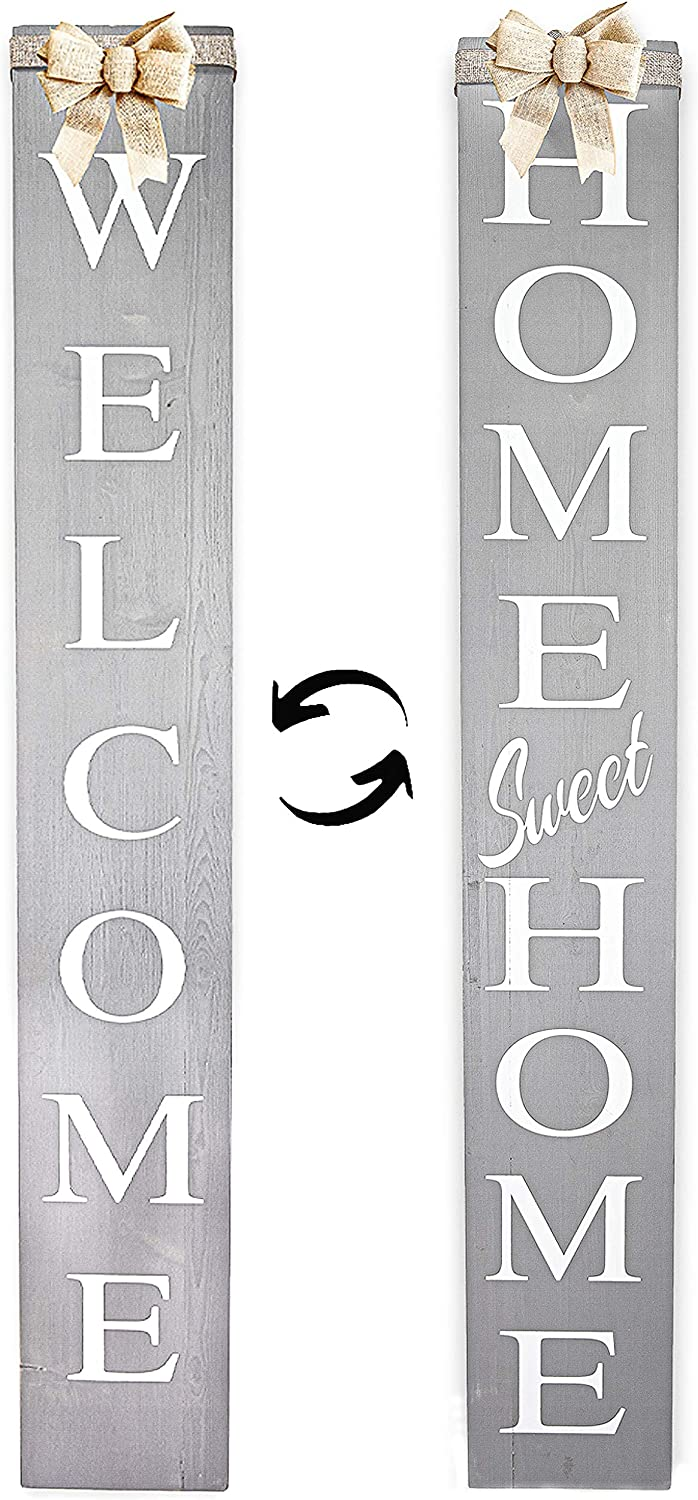 Outdoor 2in1 Welcome/Home Sweet Home Porch Signs, Interchangeable 4feet Tall, Vertical Welcome sign, Wooden Welcome Signs for Front Door, Long, Rustic, Wood,Farmhouse Decor,Decorative Outdoor Signs