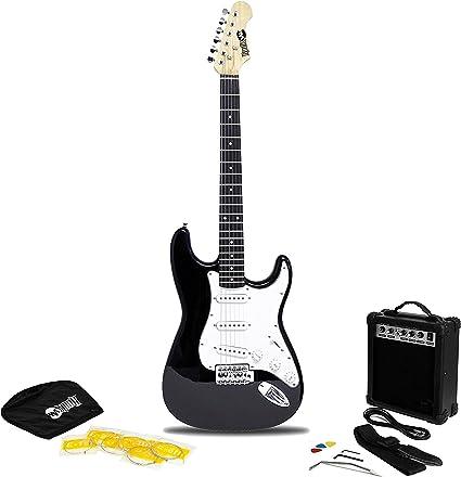 RockJam Superkit Guitarra eléctrica de tamaño completo con amplificador de guitarra, Cuerdas, Correa, Bolsa y cable de guitarra, color Negro: Amazon.es: Instrumentos musicales