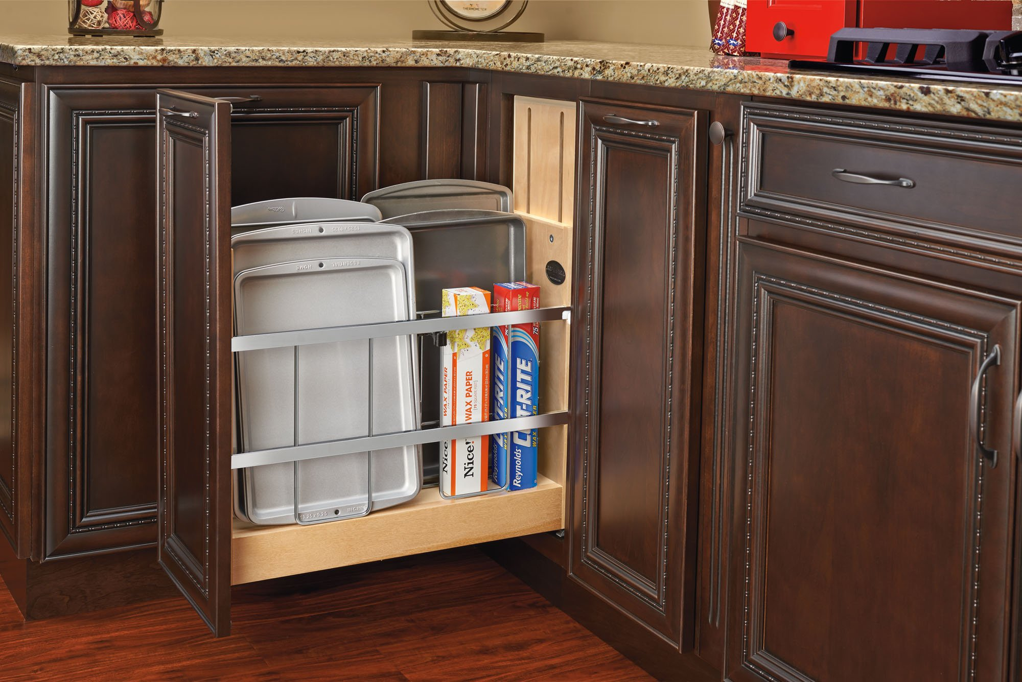 Rev-A-Shelf - 447-BCSC-5C - 5 in. Pull-Out Wood Foil Wrap/Tray Divider Cabinet Organizer with Soft-Close Slides by Rev-A-Shelf