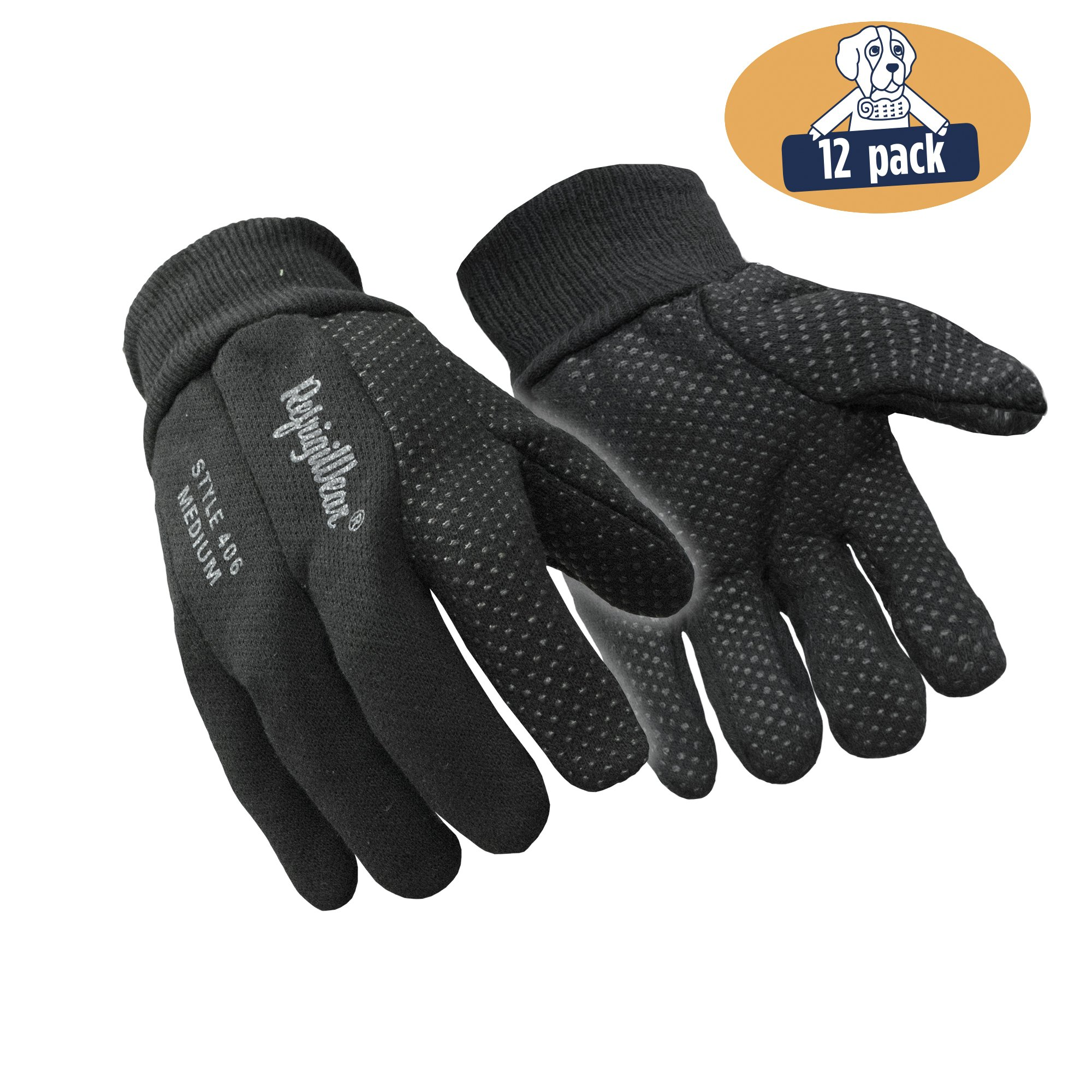 RefrigiWear Premium Insulated Cotton Jersey Knit Work Gloves with PVC Dotted Grip, Pack of 12 Pairs (Black, X-Large)