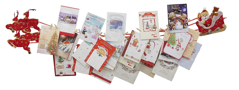Christmas Concepts® Santa Sleigh & 4 Renne Porta biglietti di Natale in tessuto con pioli in legno - Decorazione natalizia Christmas Concepts®