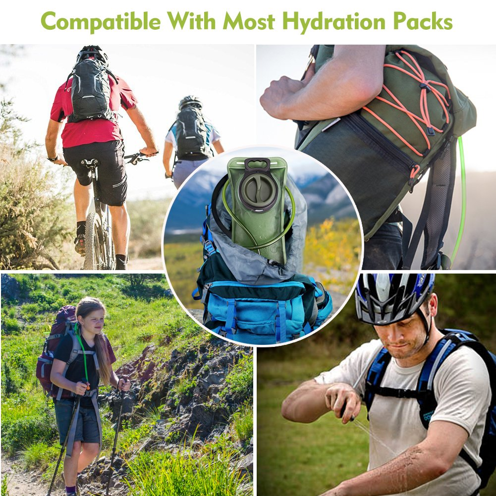 Hydration Bladder 2 Liter Leak Proof Water Reservoir, Military Water Storage Bladder Bag, BPA Free Hydration Pack Replacement, for Hiking Biking Climbing Cycling Running, Large Opening, Insulated Tube by CHERAINTI (Image #8)