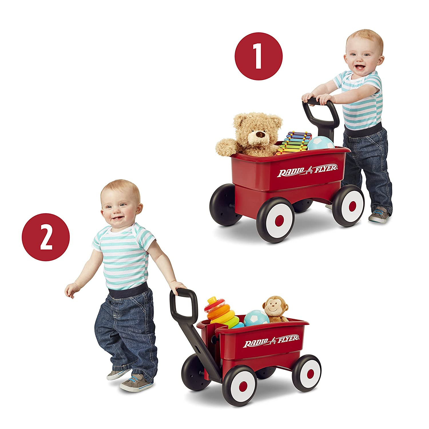 Amazon Radio Flyer My 1st 2 in 1 Wagon Ride Red Toys & Games