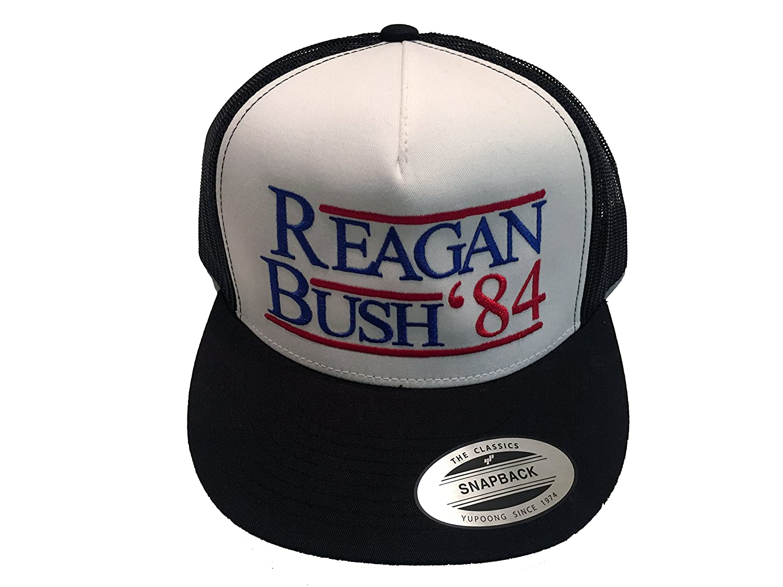 Amazon.com  Regan Bush 84 Hat - Republican Patriotic Trucker Hat - Funny  Vintage USA Ball Cap  Clothing 560da1139a98