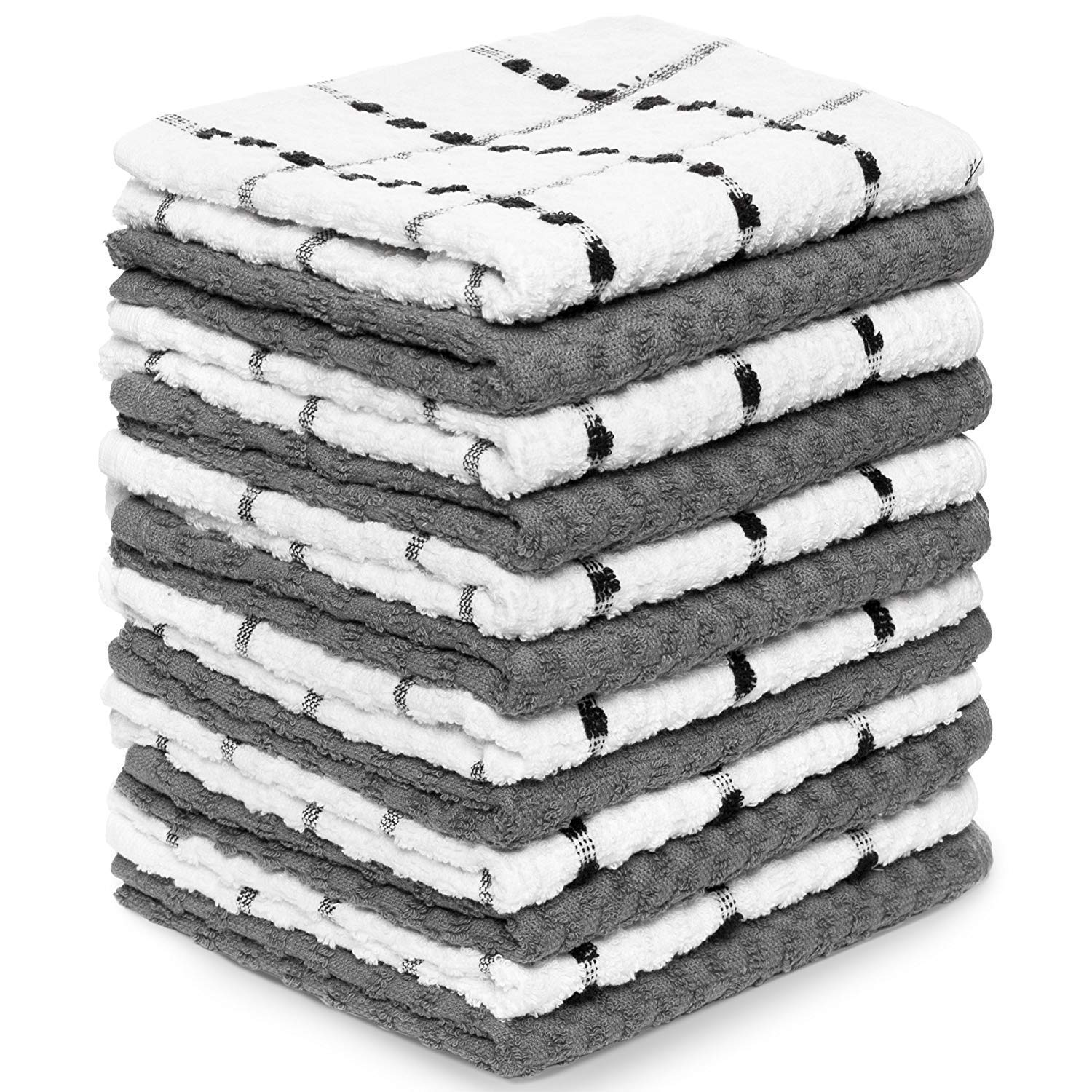 """Kitchen Towels 12 Pack - Dish Towels and Dish Cloths - Hand Towel and Dishcloths Sets - 100% Soft Ring Spun Combed Cotton - Great for Cooking in Kitchen or Household Cleaning - Size 15"""" x 25"""" (Gray)"""