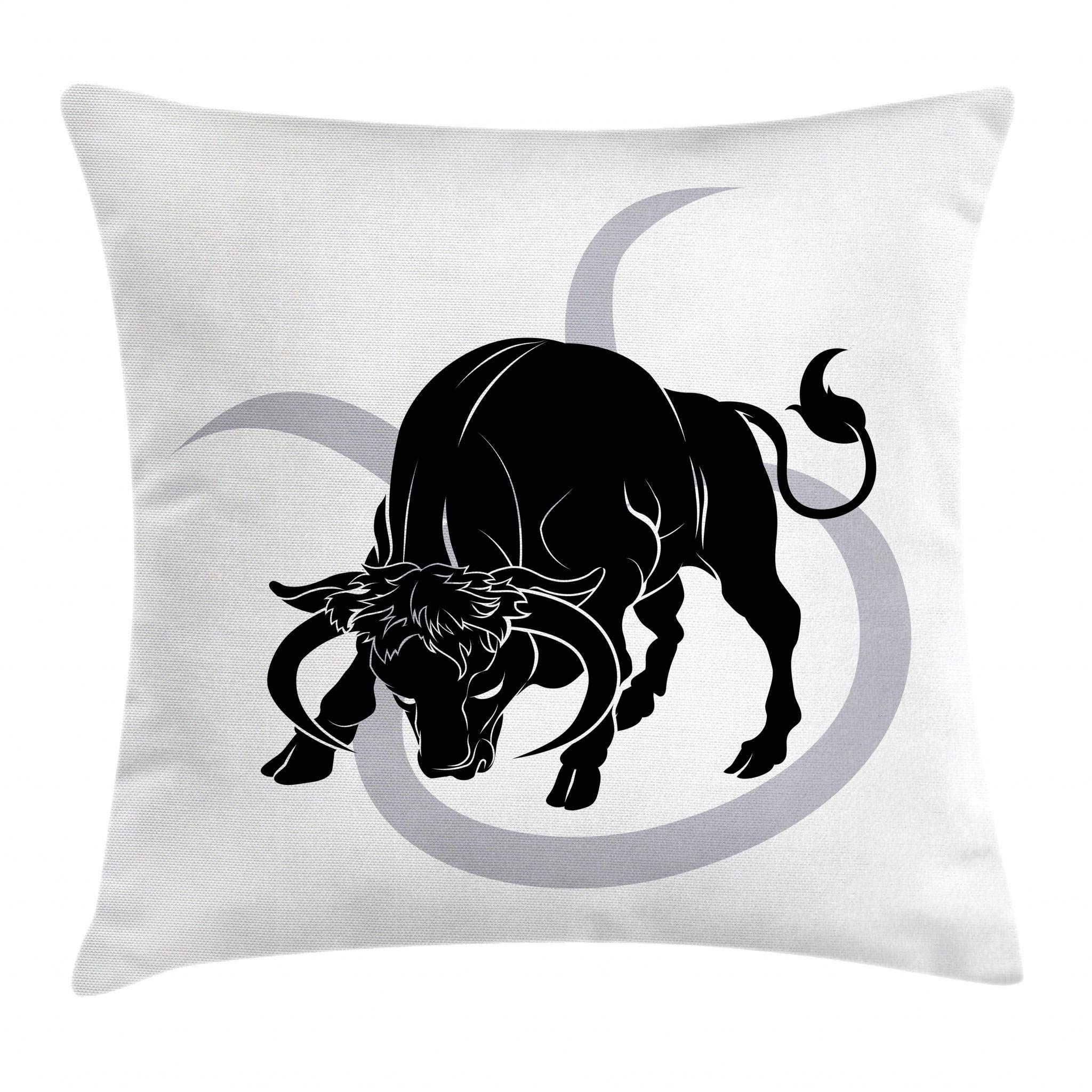 Ambesonne Zodiac Taurus Throw Pillow Cushion Cover, Black Silhouette of Animal Ox on Horoscope Icon Astrology Symbol, Decorative Square Accent Pillow Case, 18 X 18 Inches, Pale Grey Black White