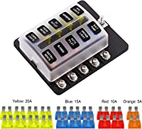 amazon best sellers best automotive replacement fuse boxes Circuit Breaker Box vetomile 10 way fuse box blade fuse block holder screw nut terminal 5a 10a 15a