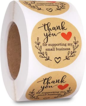 500 Sheets Kraft Paper Stickers Self-adhesive Thank You Gift Label Decor