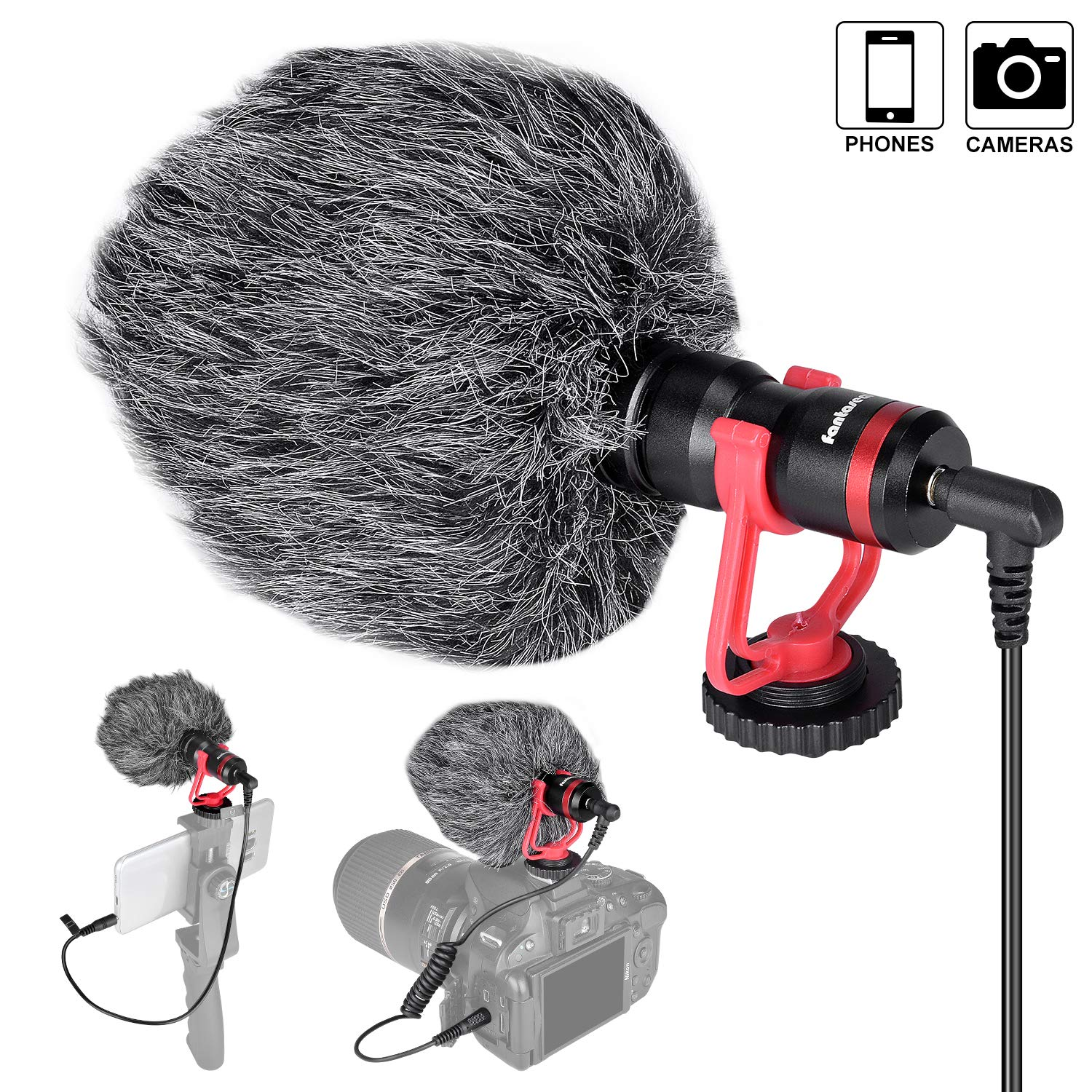 Professional Hi-sensity Hi-fidelity Mini Shotgun Video Condenser Microphone External Mic Compatible for DSLR Camera Camcorder Smartphone iPhone for Interview Podcast Live Streaming Vlog Youtube Studio by fantaseal