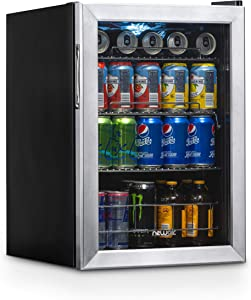NewAir Beverage Refrigerator Cooler with 90 Can Capacity - Mini Bar Beer Fridge with Right Hinge Glass Door - Cools to 34F - AB-850 - Stainless Steel