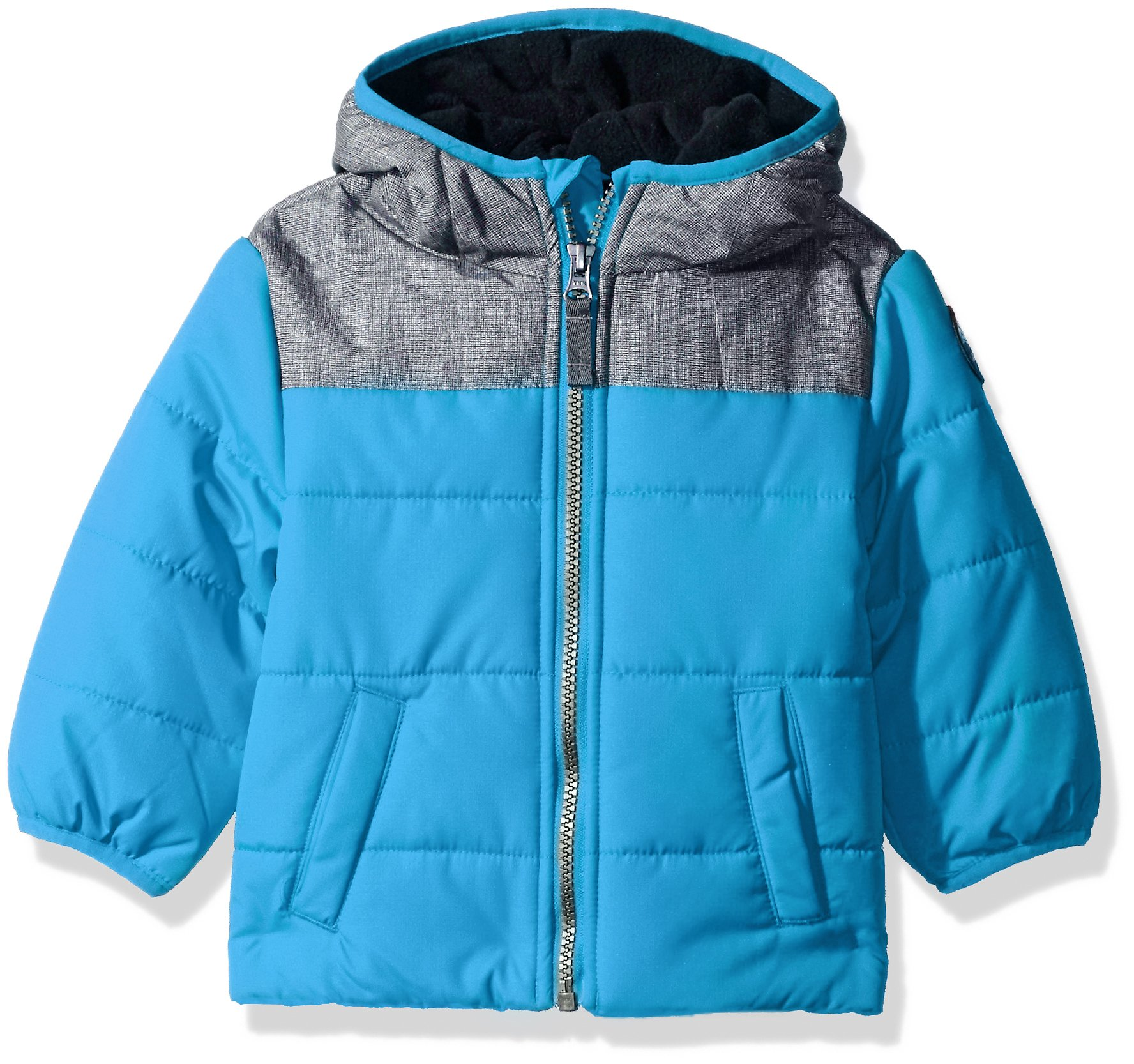 Carter's Baby Boys Puffer Jacket Coat with Soft Fabric Yolk, Teal/Navy, 18M