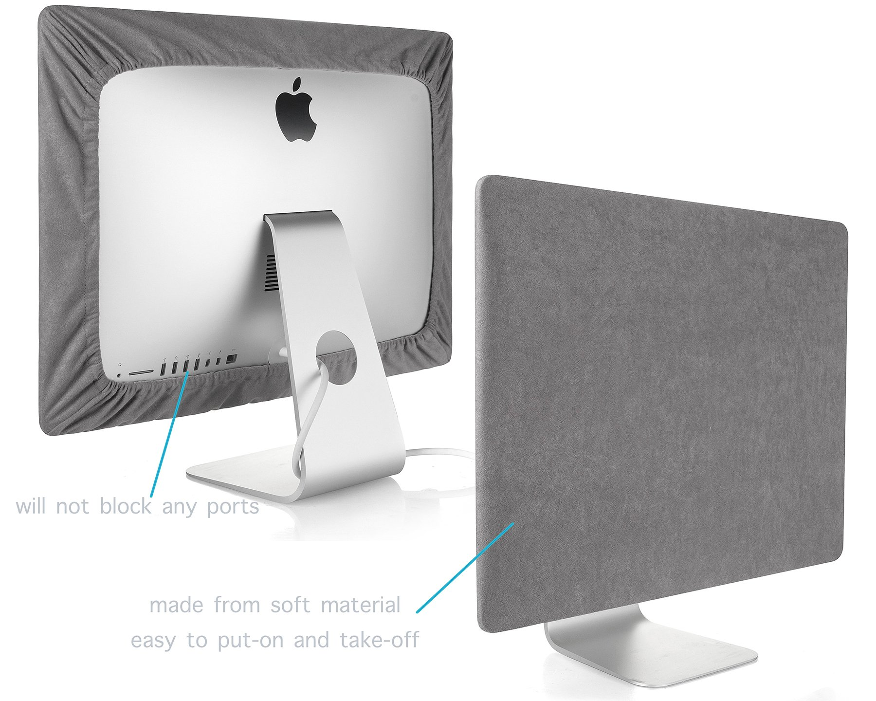 Kuzy Screen Cover for iMac 27-inch Dust Cover Display Protector (Models: A1862, A1419, A1312) - GRAY