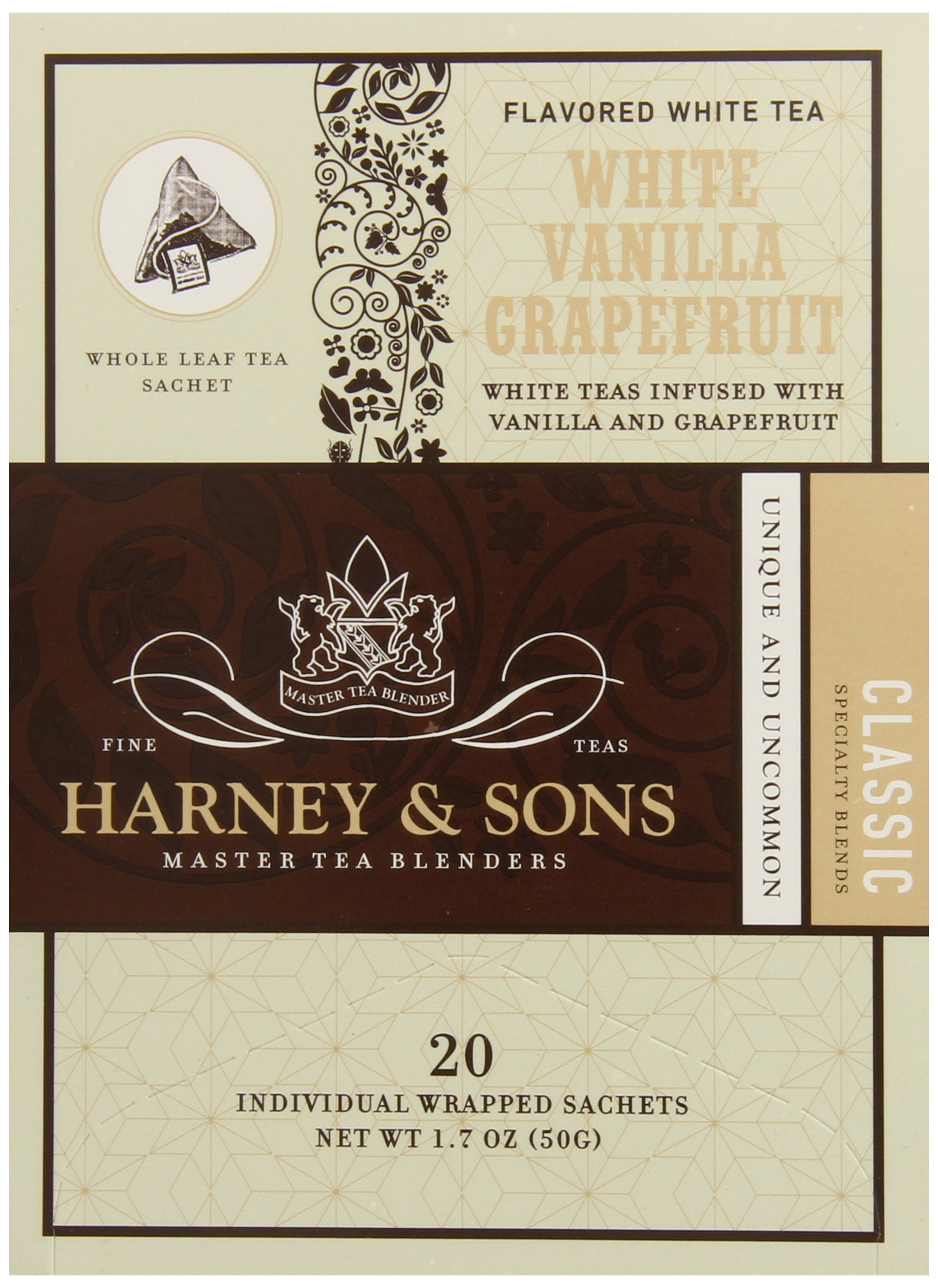 Harney & Sons White Tea, Vanilla Grapefruit, 20 Sachets (Pack of 6) by Harney and Sons
