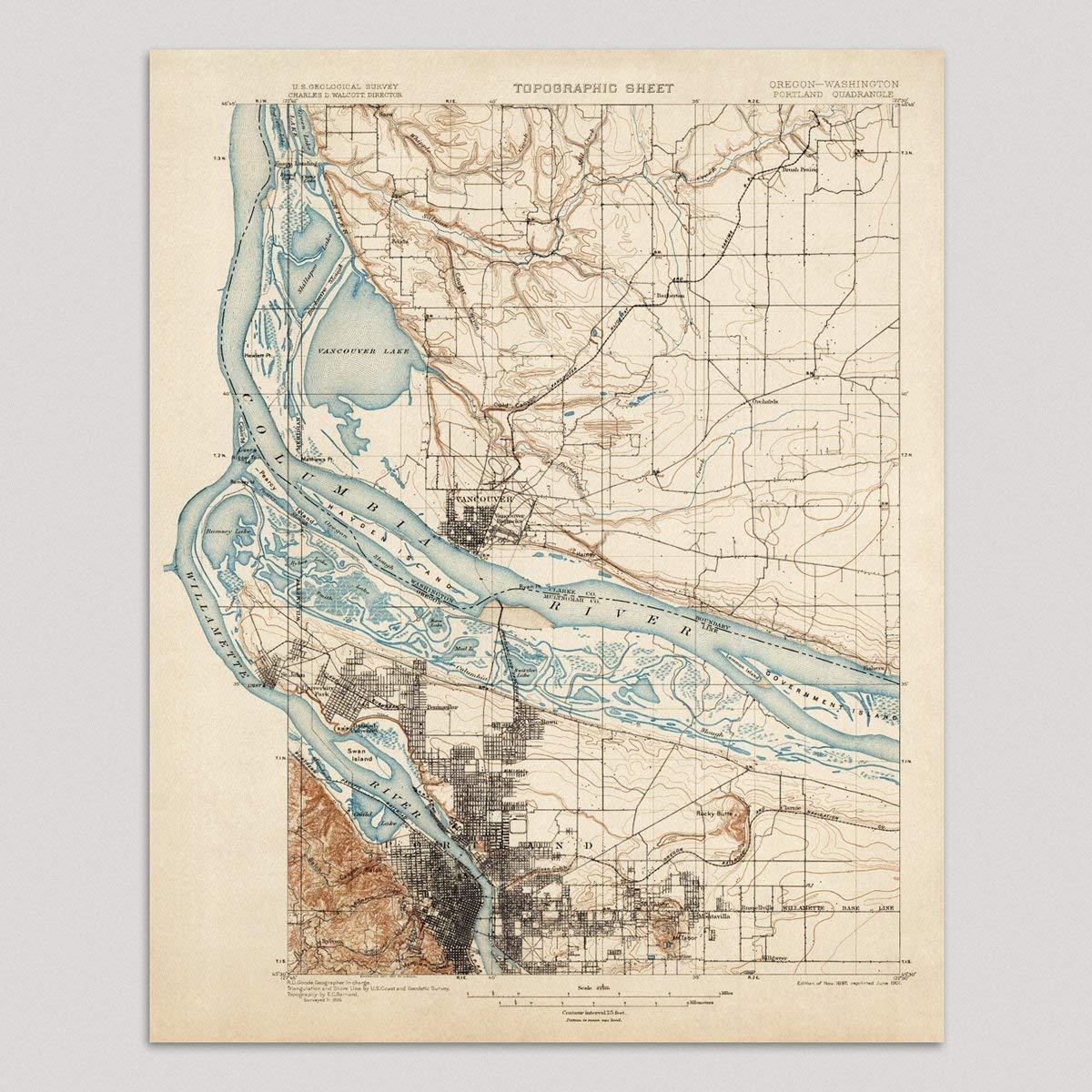 Amazon Com Old Portland Map Art Print Oregon 1897 Vintage Usgs