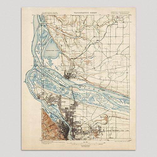 Amazon.com: Old Portland Map Art Print, Oregon, 1897 ...